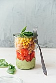 salad in a jar, avocado sauce (with garlic + basil), tomato, buckwheat + lentil pasta, corn, vegan