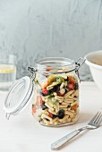Mediterrean pasta sald in a jar, sardinian gnocchetti, cherry tomato, spring onions, basil,