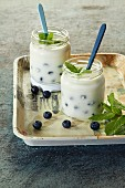 Blueberry yoghurt in a jar