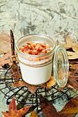 Yoghurt with papaya in a glass