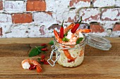Prawn chili noodle meal in a jar