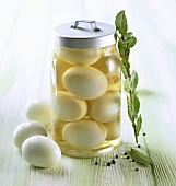 Eggs pickled in vinegar in a preserving jar