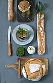 Various breads and fresh herbs