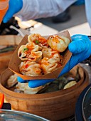 Steamed dumplings at a market in Milan (Italy)