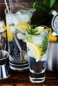 Gin and tonic with lemon, ice cubes and rosemary between bar utensils