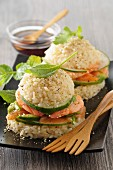 Rice burgers with cucumber and prawns