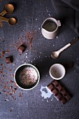 Hot chocolate with block of chocolate, milk cinnamon and sea salt