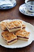 Raspberry - coconut slice