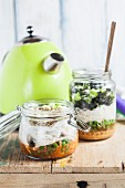 Two DIY instant soups in glass jars