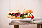 Baguette with salad (iceberg lettuce, red cabbage, lamb's lettuce, tomatoes, cress)