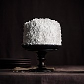 White coconut cake on black tray