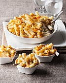 Bowl and cups of macaroni and cheese