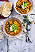 Spiced Lamb and Rice Soup with Coriander Yoghurt