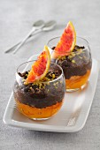 Pot de cream (chocolate dessert, France) on blood orange jam