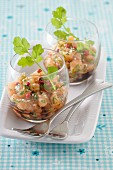 Salmon tartare with ginger, pink peppercorns and coriander
