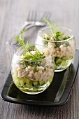 Crab verrine with cucumbers and chives