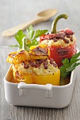 Peppers stuffed with rice and bacon