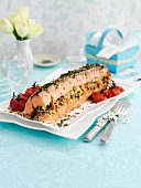 Roasted stuffed salmon with salsa verde (Easter)