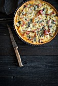 Bacon, onion and broccoli quiche