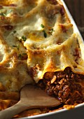 Mince lasagne (close-up)