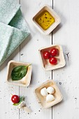 Tomato and mozzarella skewers with basil and the ingredients