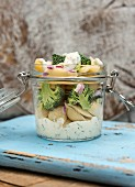 Pasta with vegan ricotta and broccoli in a jar