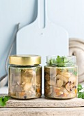 Vegan mushroom and butterbeans soup in a jar
