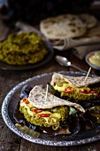 Naan bread filled with pea patties (India)
