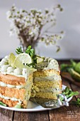 Lime cake with basil, sliced