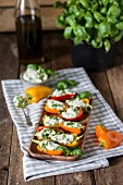 Peppers stuffed with creamy feta cheese