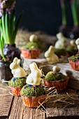 Easter muffins decorated with edible moss