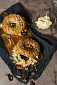 Turkey bagels with fennel and mayo