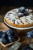 Wholegrain plum cake with icing sugar
