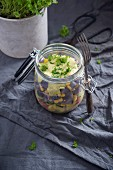 A salad with two potato varieties, corn, peppers and vegan herb remoulade