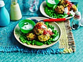 Vegeterian corn, quinoa and tofu balls with minty cream