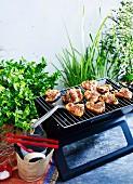 Rosmarin-Lammkoteletts auf dem Grill