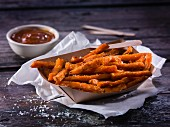 Sweet potatoes fries with barbecue sauce