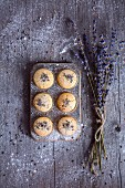 Lavender Shortbread Cookies on an old wooden table.