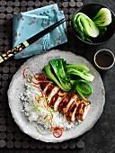Gegrilltes Hoisin-Hähnchen mit Paksoi und Reis (Asien)