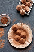Chocolate truffles, sprinkled with cocoa powder