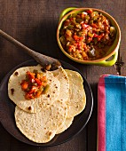 Tex-Mex tortillas with pepper and tomato salsa