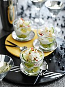 Festive seafood cocktails with crab meat and cucumber jelly