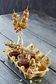 Turkey breast skewers with dips