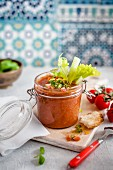 Tomato gazpacho with celery served in a flip-top jar