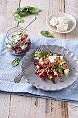 A buckwheat salad with feta and spinach