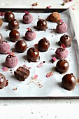 Date candies with dark chocolate and cherries