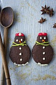 Schneemann-Schokoladenplätzchen zu Weihnachten