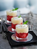 Mini jelly and custard trifles (England)