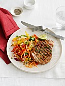 Grilled tuna steak with Asian vegetables