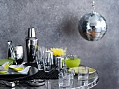 Various barware, glasses and crockery for a party